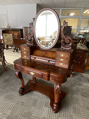 Victorian Duchess Serpentine Walnut Dressing Table