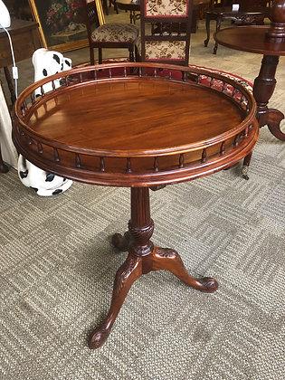 Georgian style mahogany tilt top gallery side table