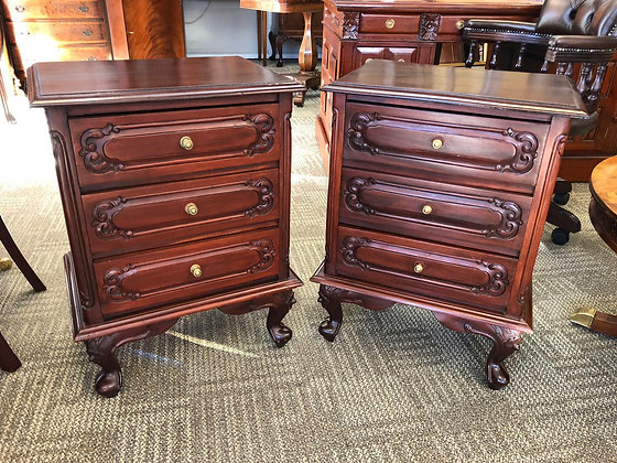 A pair of mahogany side lockers with 3 drawers on cabriole legs.