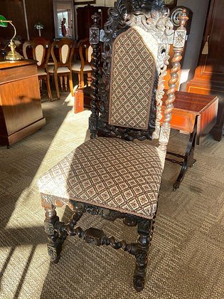 Cotton patterned seat, wooden carved back king chair