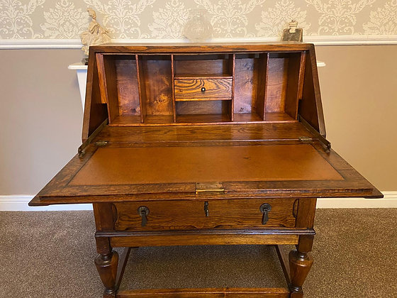 Oak leather top writing bureau