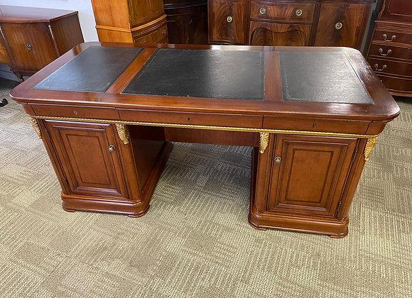 Large ambassadors desk with black leather top