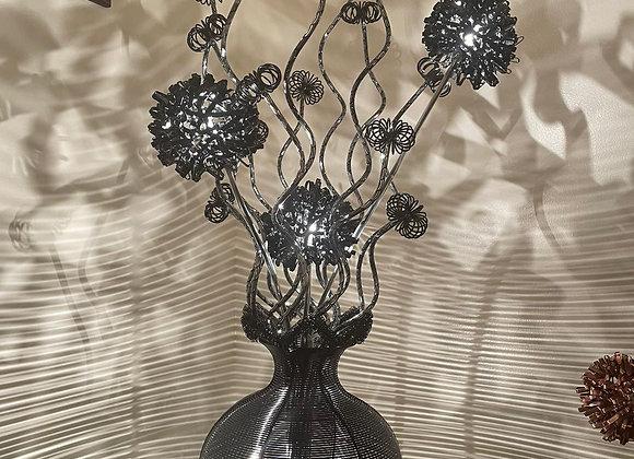 A stunning classic sleek polished black aluminium table lamp