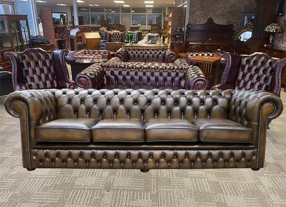 Tan leather chesterfield 4 seater - made to order
