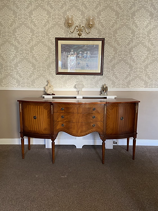 Mahogany sideboard with 3 drawers & 2 cupboard with gold deco
