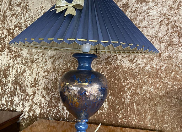 Blue base with gold and dark blue shade with ribbons lamp