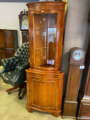 Yew corner unit with 2 glass shelves & wooden back with lower cupboard