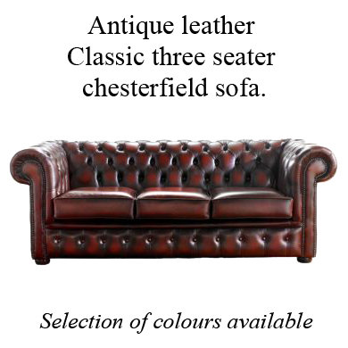 Antique leather Classic 3 seater chesterfield sofa.