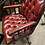 Thumbnail: Red high back directors chair with mahogany legs