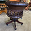 Thumbnail: Brown leather buttons captains chair with mahogany wood
