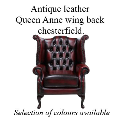 Queen Anne wing back chesterfield