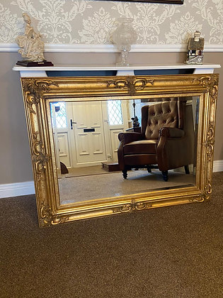 Gold gilt rectangle bevelled wall mirror