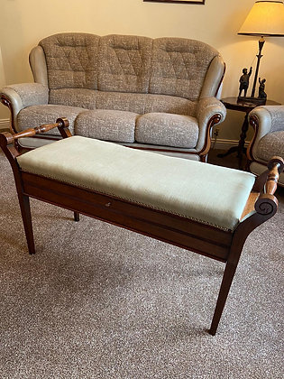 Solid mahogany scrolled armed window/piano seat with underneath storage & key