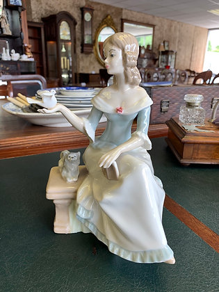 "Mediflor Valencia Porcelain Figurine ""Girl on Bench with Dove and Puppy"""