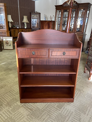 Mahogany bookcase with 3wooden shelves & 2 drawers