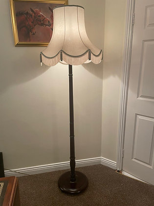 Mahogany floor lamp with cream/pale green trimming