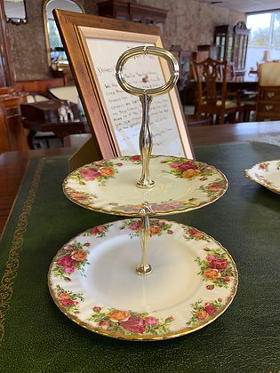 Royal Albert Old Country Roses 2-Tier Cake Stand