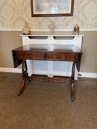 Mahogany drop leaflet table with two front drawers