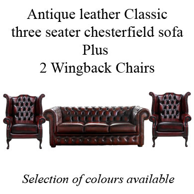 Antique leather Classic three seater chesterfield sofa Plus 2 Wingback Chairs