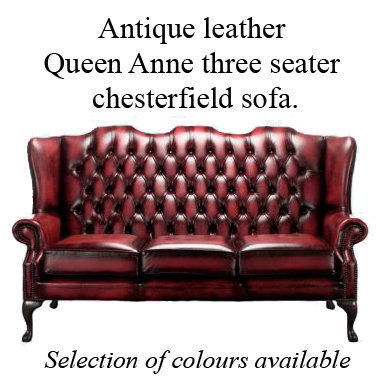 Queen Anne wing back 3 seater chesterfield