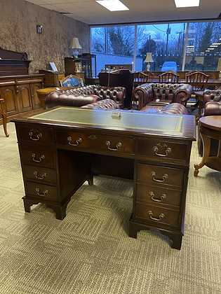 Mahogany writing desk with green leather top