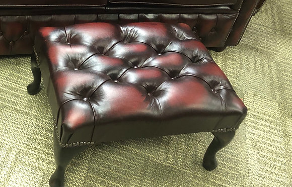 Oxblood Chesterfield footstool