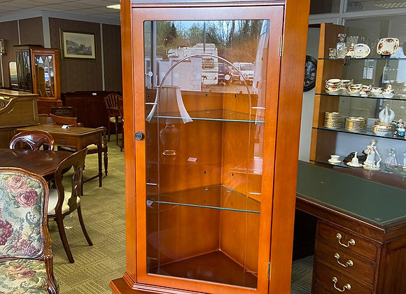 Yew corner cabinet with square front shaped & 2 glass shelves