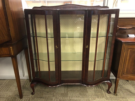 Mahogany china cabinet with curved side doors