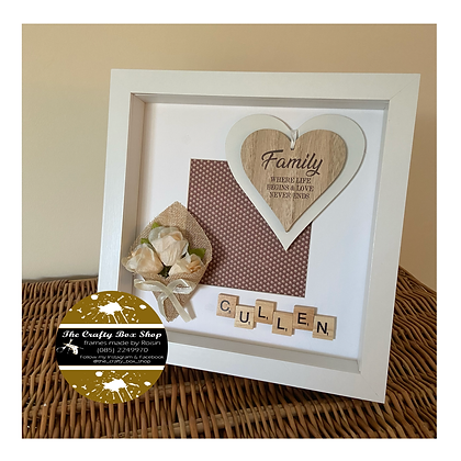 """""""Family, where life begins and love never ends"""" family surname frame"""