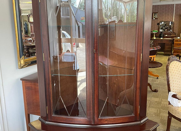 Large mahogany flamed corner unit with glass shelves