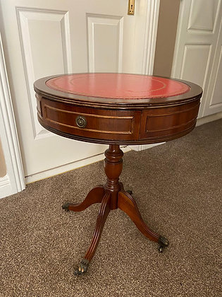 Mahogany drum red leather top table