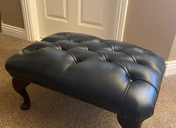 Antique Blue leather chesterfield footstool - made to order