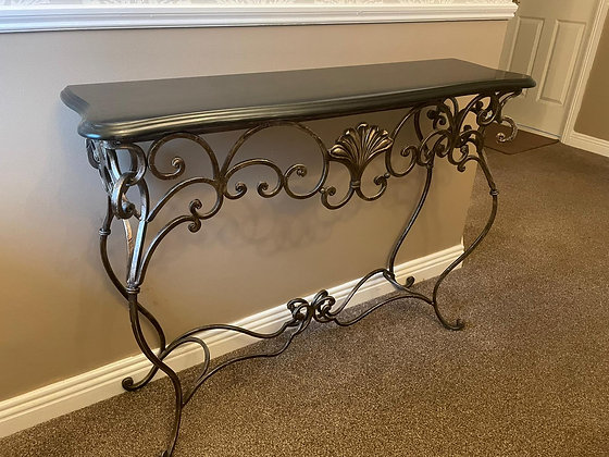 Bronze grey wrought iron black marble top console table