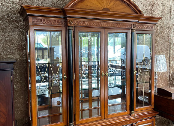 Roswood inlaid 4 door display cabinet with lights & arched top