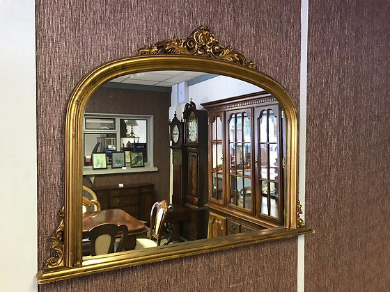 Small oval top arched Gold mirror