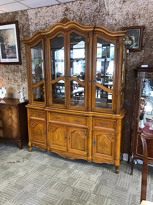 Yew display cabinet with lights