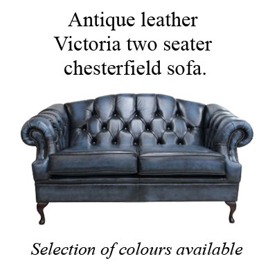 Antique leather Victoria 2 seater chesterfield sofa.