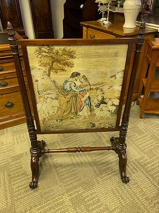 Victorian mahogany tapestry firescreen