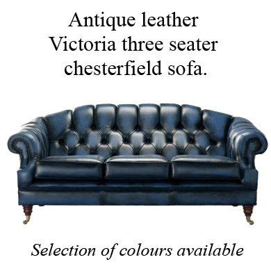 Antique leather Victoria 3 seater chesterfield sofa.