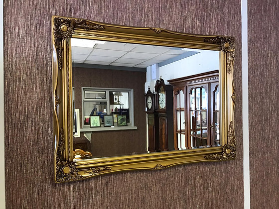 Gold Rectangle Mirror with detailed edging