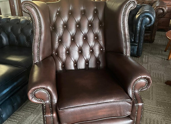Choco brown queen anne chair with scroll arms - made to order