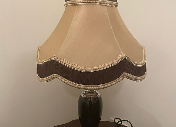 A stunning black & clear crystal table lamp with a champagne/dark brown rim lamp