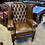 Thumbnail: Tan queen anne chair with scroll arms - currently in stock