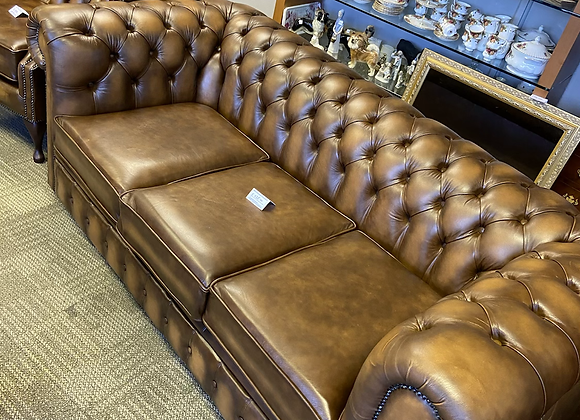 Tan leather chesterfield 3 seater - made to order