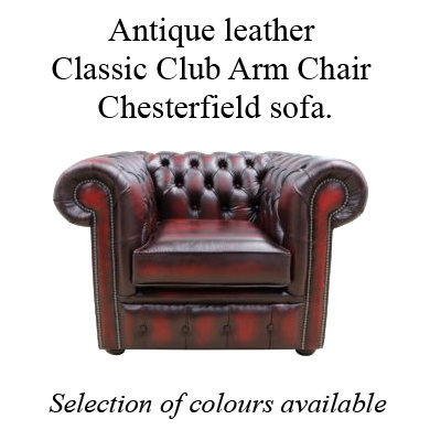 Antique leather Classic club arm chair chesterfield sofa.