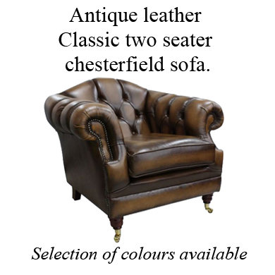 Antique leather Victoria armchair chesterfield sofa.