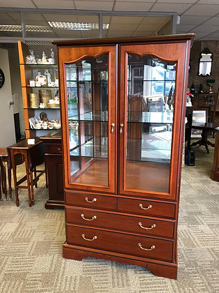 Cherrywood flamed display cabinet