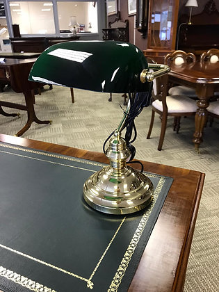 Antique style bankers lamp with glass top