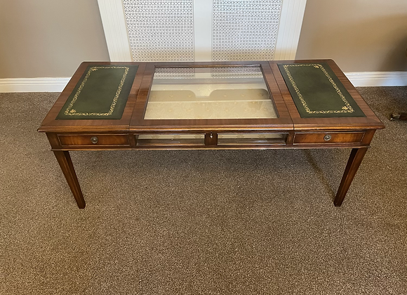 Mahogany occasional centre table with glass display