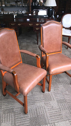 Yew leather carver chairs